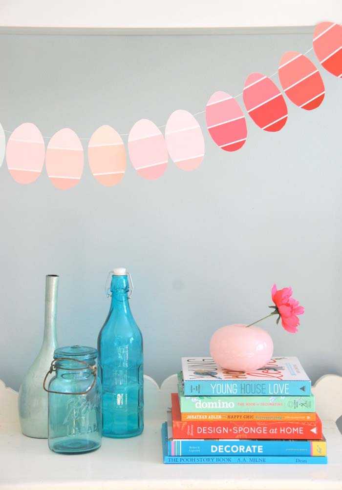 Paint Chip Egg Garland #easter #diy #cheap #decor #decorhomeideas