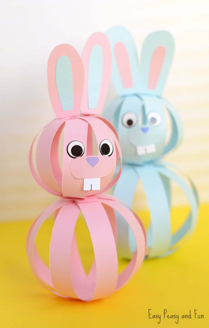 Paper Bunny Craft for Kids #easter #diy #dollarstore #crafts #kids  #decorhomeideas