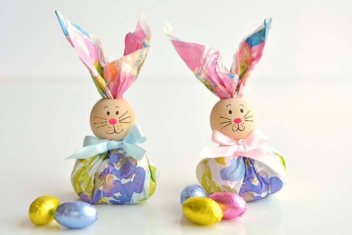 Paper Napkin Bunny Favors #easter #diy #dollarstore #crafts #decorhomeideas