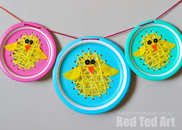 Paper Plate Chicks #easter #diy #dollarstore #crafts #kids  #decorhomeideas