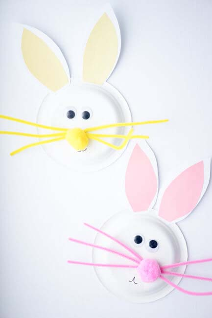 Paper Plate Easter Bunny #easter #diy #dollarstore #crafts #kids  #decorhomeideas
