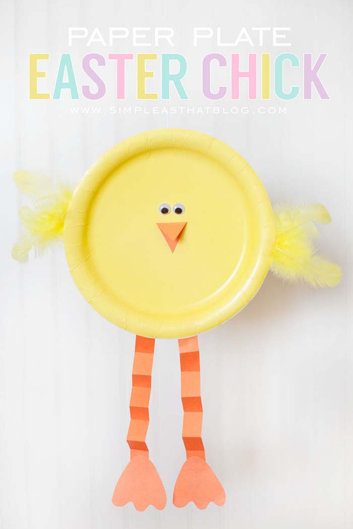 Paper Plate Easter Chick #easter #diy #dollarstore #crafts #kids  #decorhomeideas