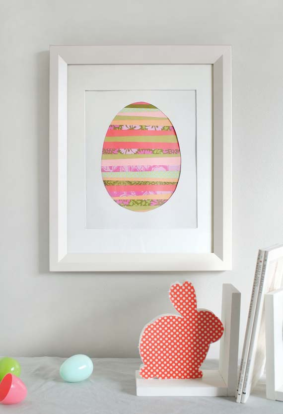 Paper Strip Egg Art #easter #diy #cheap #decor #decorhomeideas