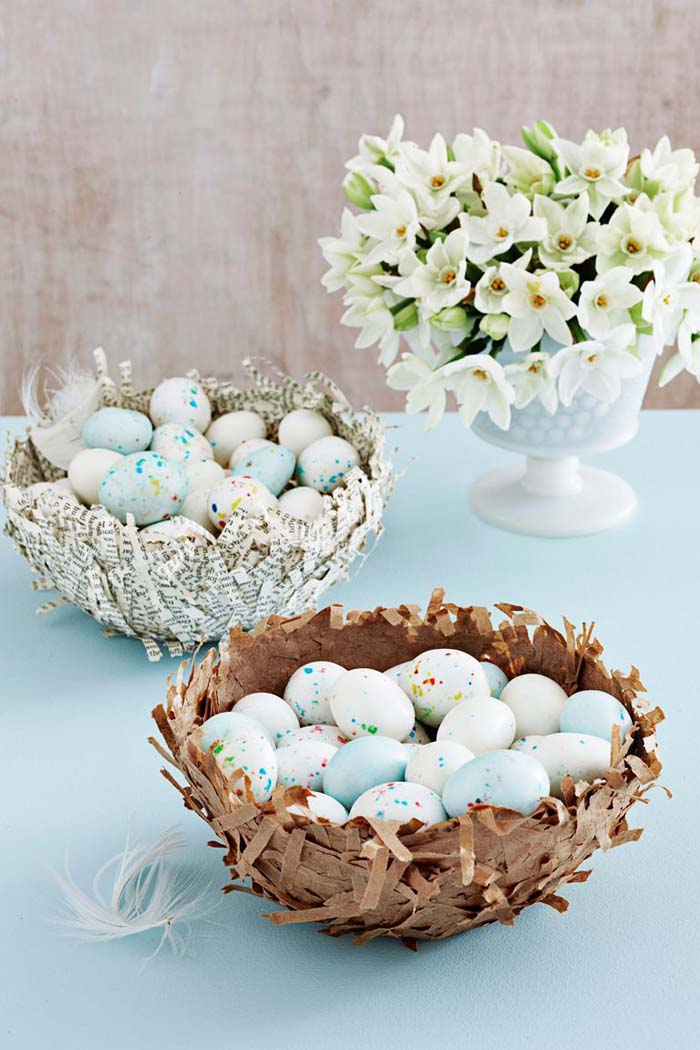 Papier Mache Nest #easter #diy #cheap #decor #decorhomeideas