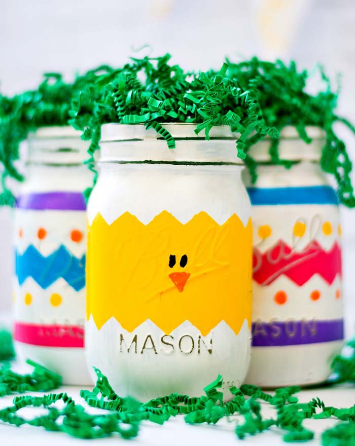 Peep Mason Jars for Easter #easter #diy #dollarstore #crafts #decorhomeideas
