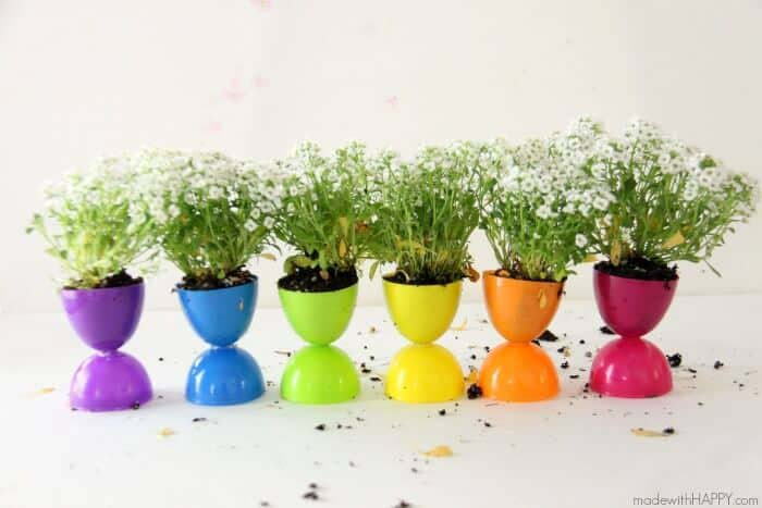 Plastic Egg Planter #easter #diy #cheap #decor #decorhomeideas