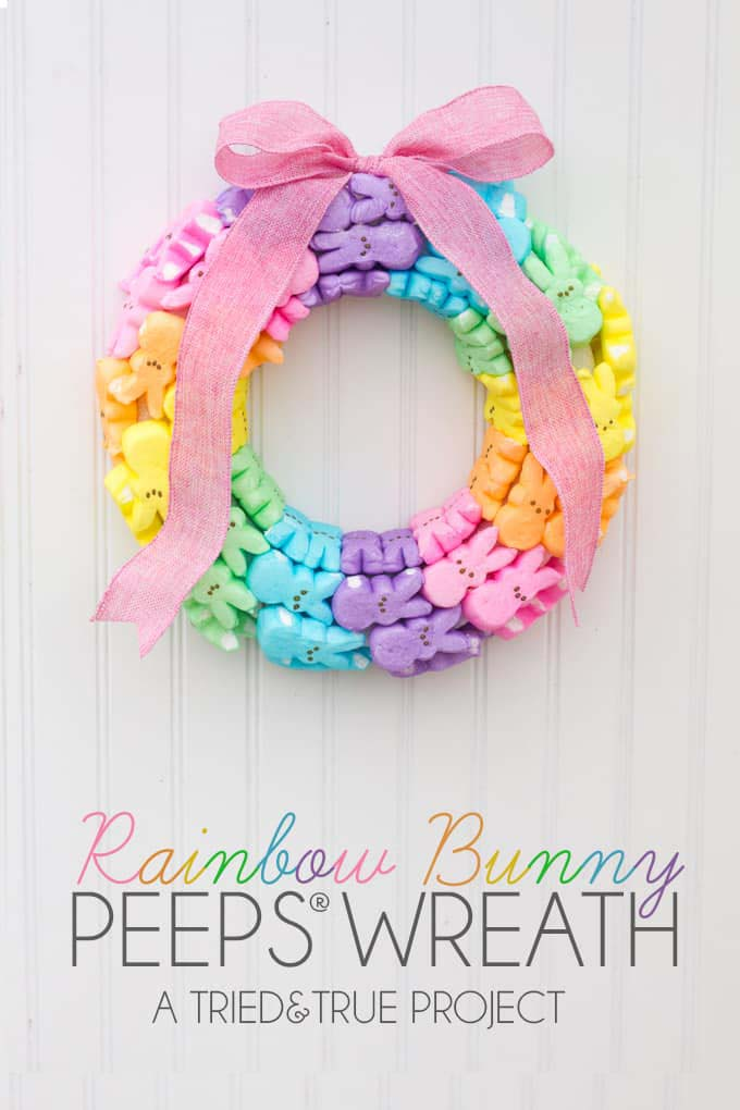 Rainbow Bunny Peeps Wreath #easter #diy #porch #decor #decorhomeideas