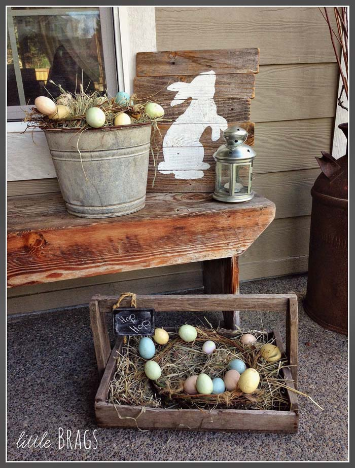 Rustic Easter Porch #easter #diy #porch #decor #decorhomeideas