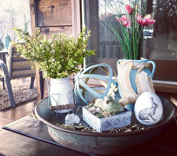 Rustic Easter Tray Porch Decor #easter #diy #porch #decor #decorhomeideas