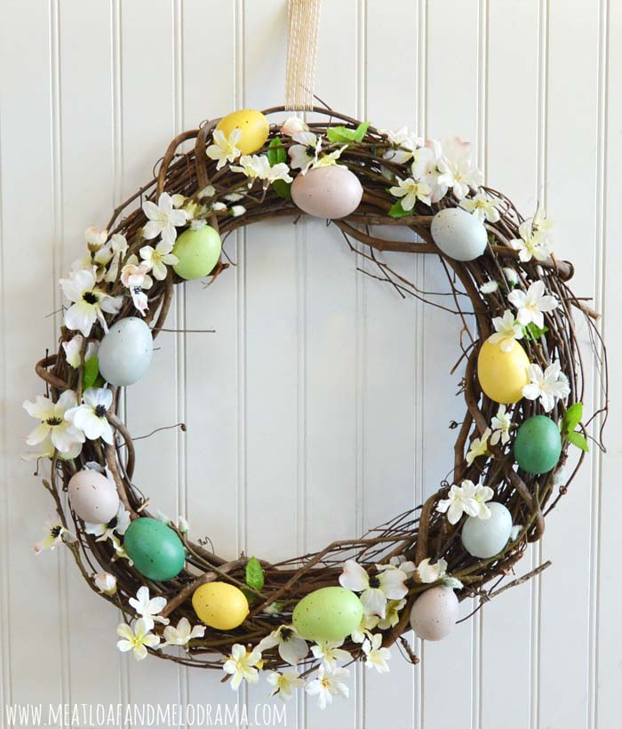 Rustic Egg Wreath #easter #diy #cheap #decor #decorhomeideas