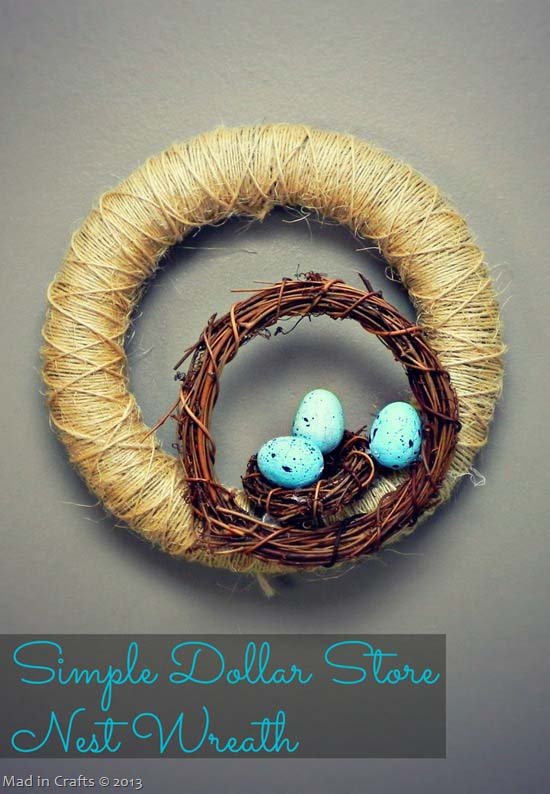 Simple Dollar Store Nest Wreath #easter #diy #cheap #decor #decorhomeideas