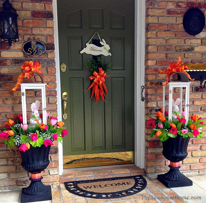 Spring Bunny Lantern Topiaries #easter #diy #porch #decor #decorhomeideas