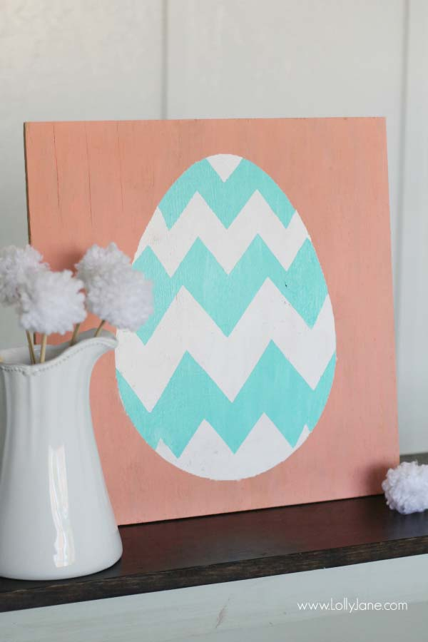 Spring Easter egg sign decor #easter #diy #cheap #decor #decorhomeideas