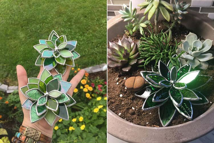 Stained Glass Succulents 1