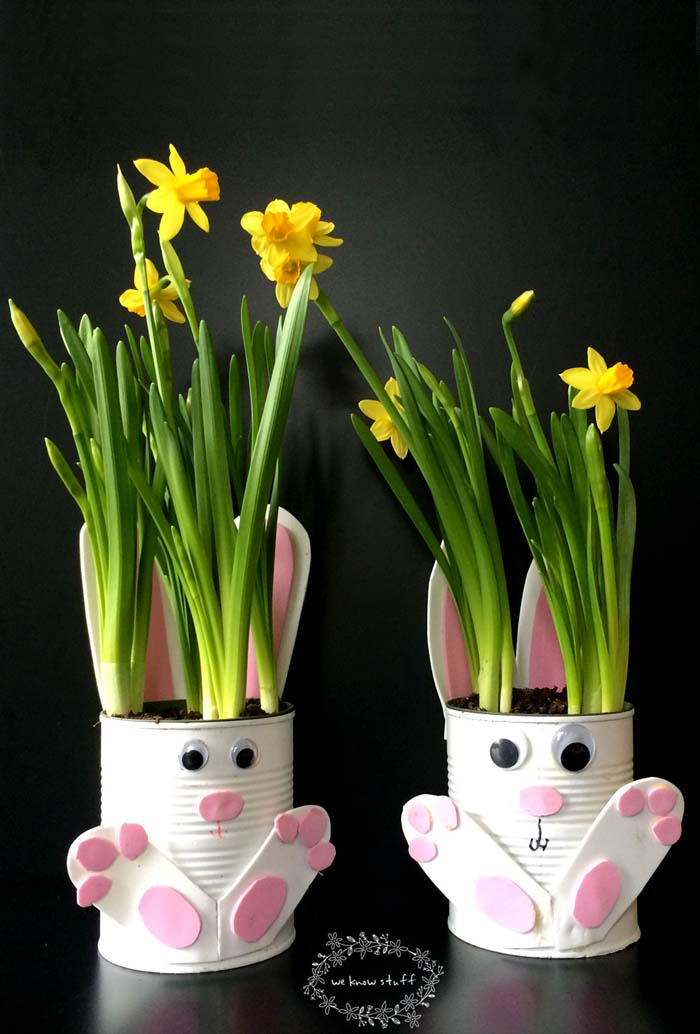 Tin Can Bunny Planters #easter #diy #dollarstore #crafts #decorhomeideas