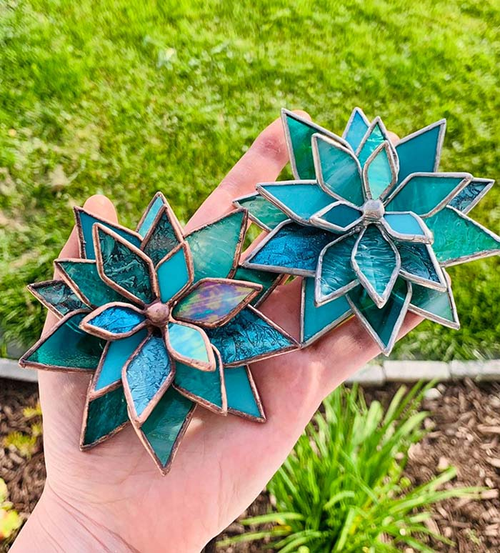 Turquoise Stained Glass Succulents