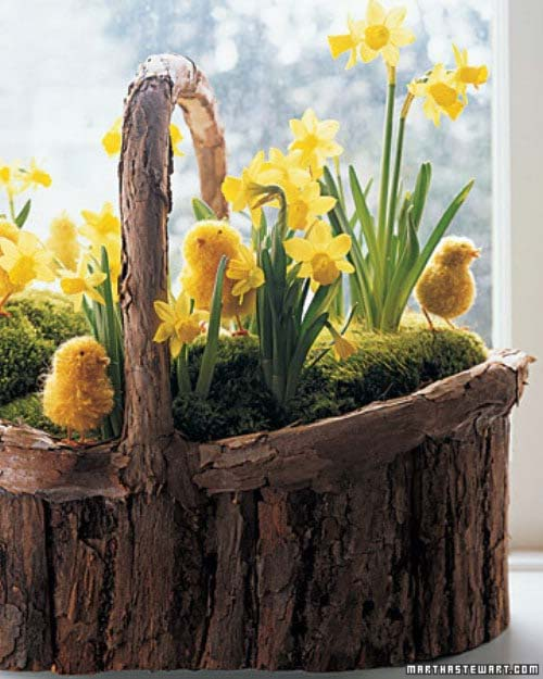 Wood Basket with Chicks and Daffodils #easter #diy #rustic #decor #decorhomeideas