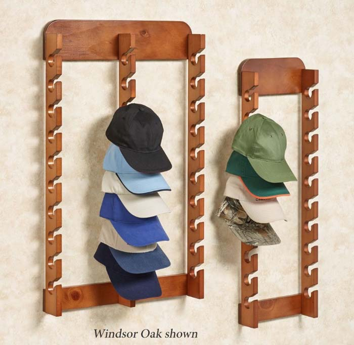 Wood Cap Display Wall Rack #hatrack #diy #organizer #decorhomeideas