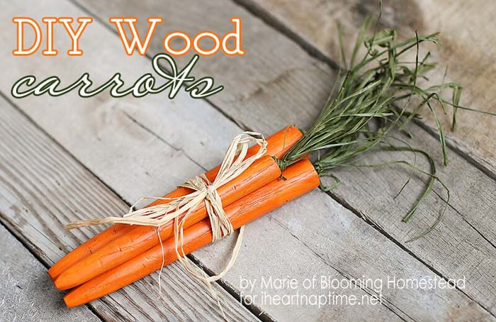 Wood Carrots #easter #diy #wood #crafts #decorhomeideas