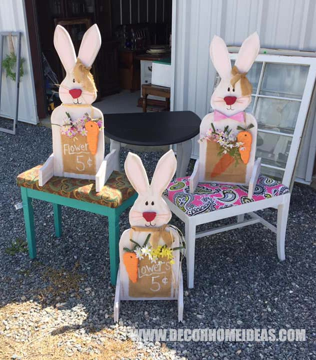 Wooden Bunny Easter Porch Decor #diy #easter #porch #bunny #decorhomeideas