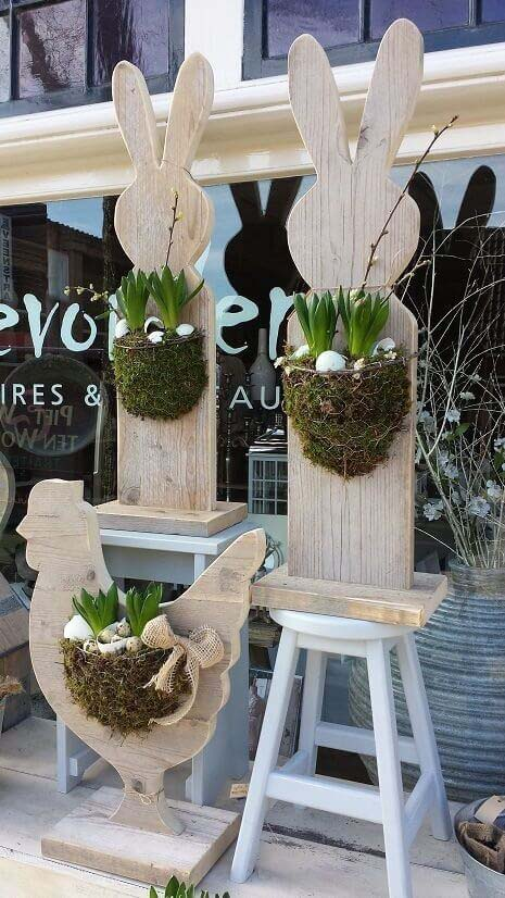Wooden Bunny Egg Planters #easter #diy #porch #decor #decorhomeideas