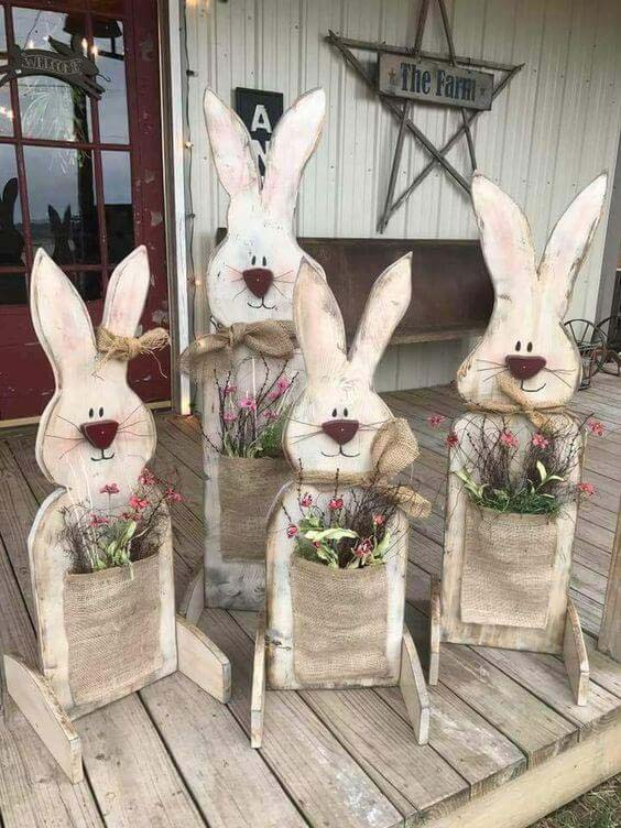 Wooden Bunny Flower Planters #easter #diy #porch #decor #decorhomeideas