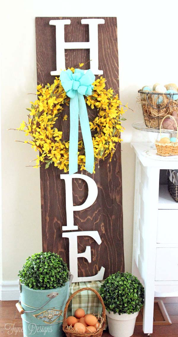 Wooden Hope Easter Wreath Sign #easter #diy #porch #decor #decorhomeideas