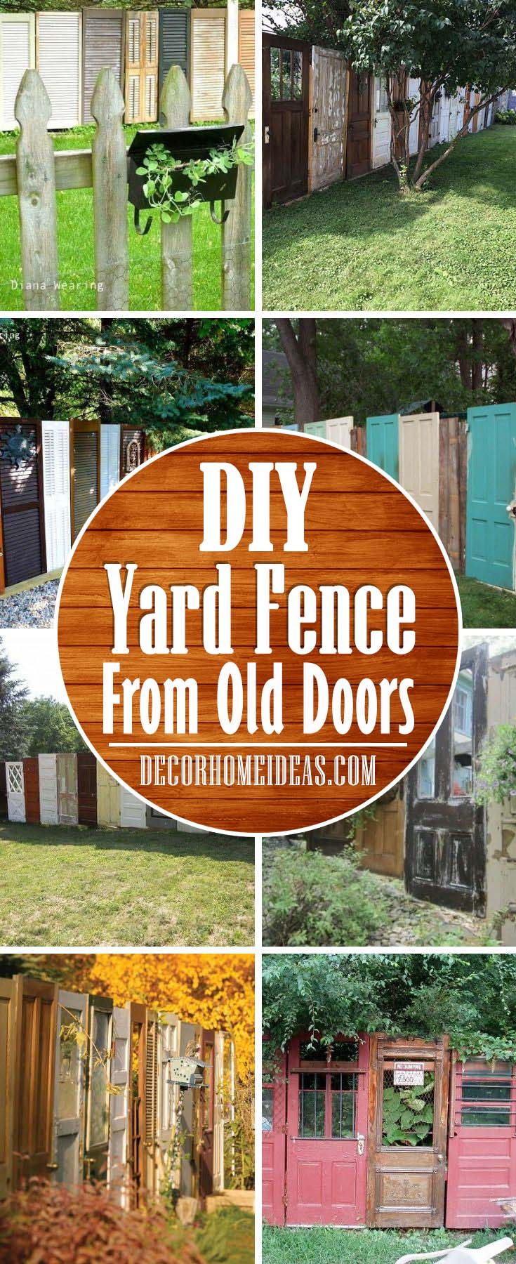 Yard Fence Made Out Of Old Doors. How to repurpose old doors and build a stunning fence. #diy #repurpose #doors #old #decorhomeideas
