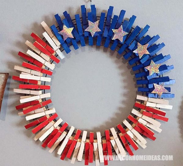 4th Of July Clothespin Wreath #diy #clothespin #wreath #crafts #decorhomeideas