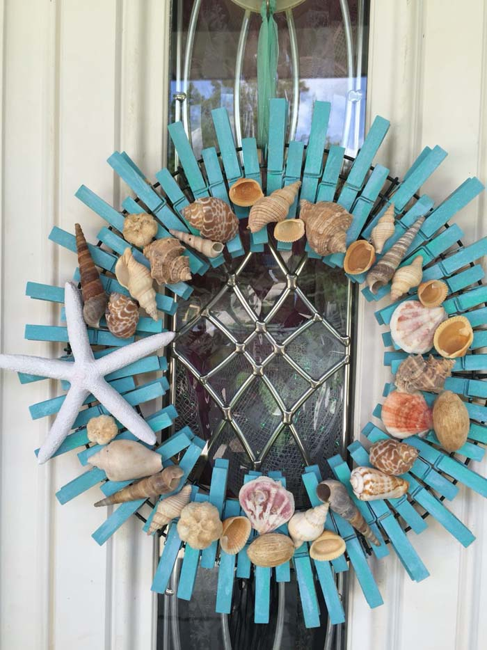 Sea Shell Crafts On Wreath From Clothespins #diy #clothespin #wreath #crafts #decorhomeideas