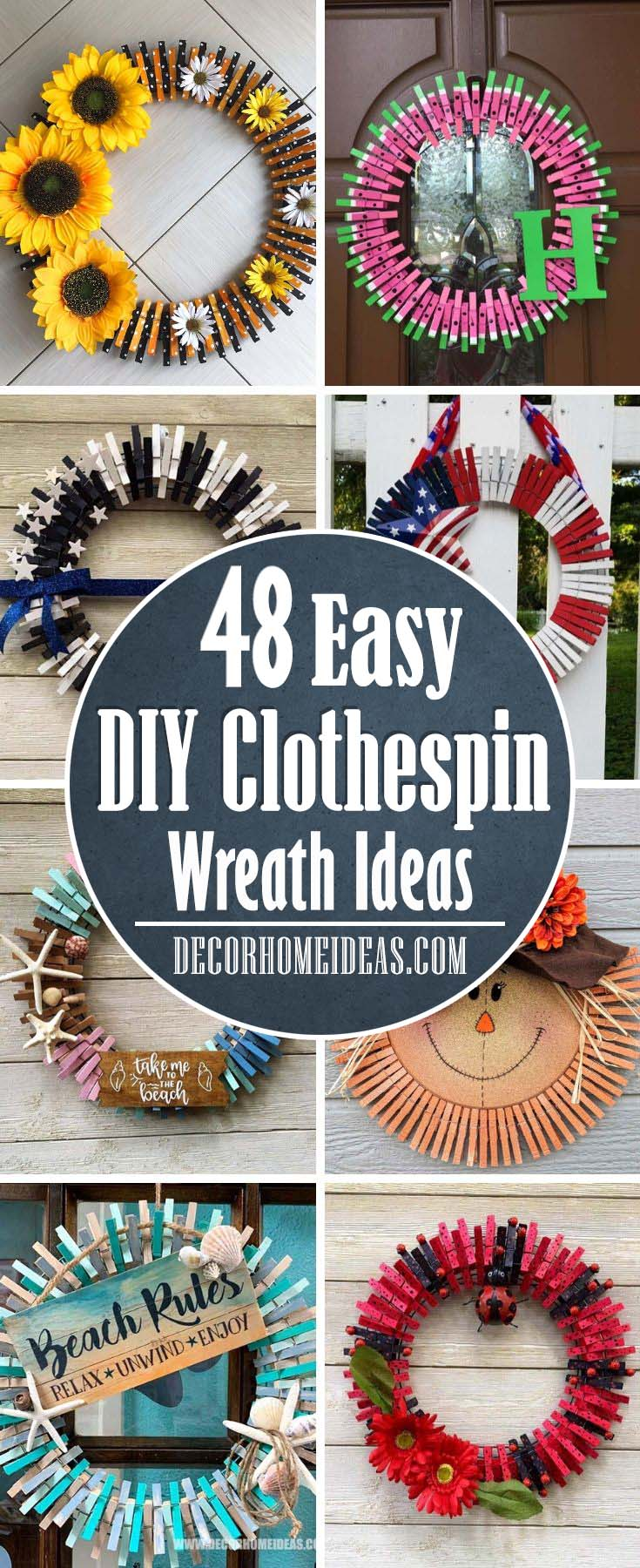 Best DIY Clothespin Wreaths that are really easy to do. Sunflower, 4th of July, watermelon, beach themed and fall ready are just some of the beautiful designs in this collection. #diy #clothespin #wreath #crafts #decorhomeideas
