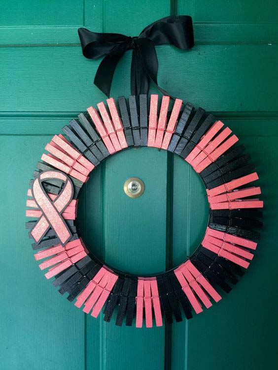 Breast Cancer Awareness And Empathy #diy #clothespin #wreath #crafts #decorhomeideas