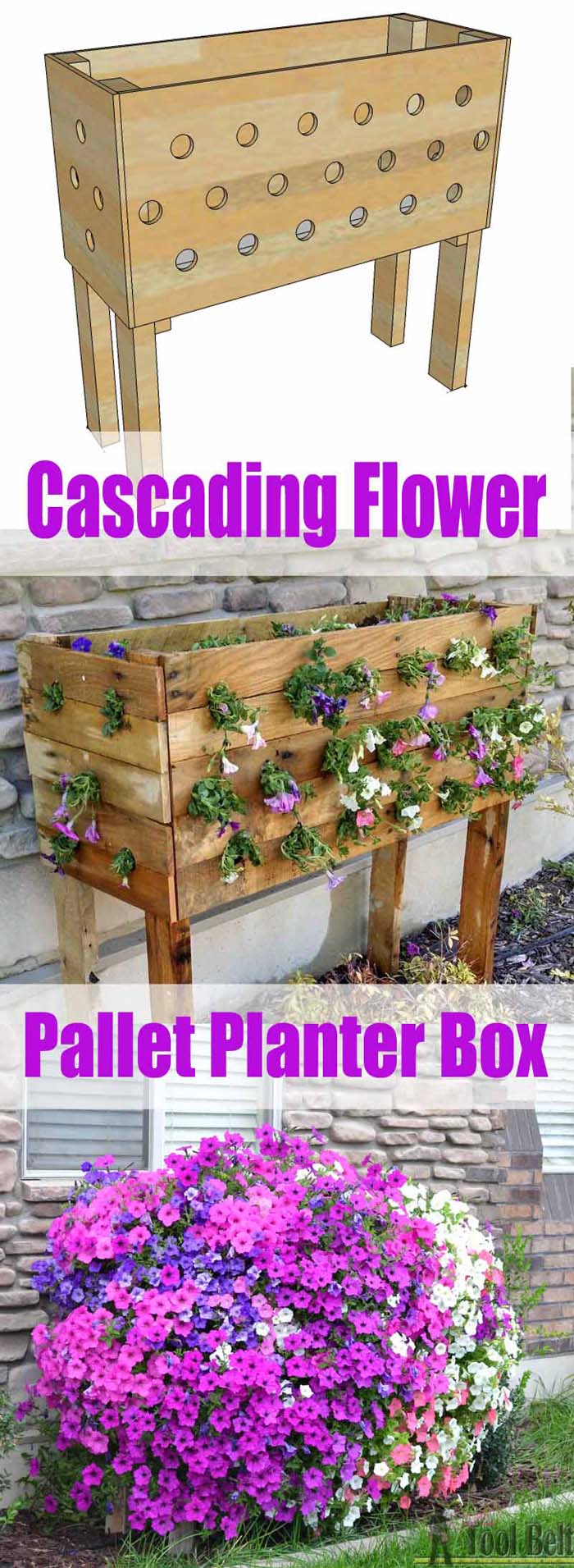 Cascading Flower Wood Pallet Planter Box #diy #planter #wood #flower #pallet #decorhomeideas