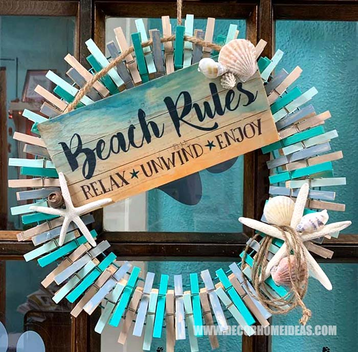 Coastal Beach Colored Clothespin Wreath #diy #clothespin #wreath #crafts #decorhomeideas