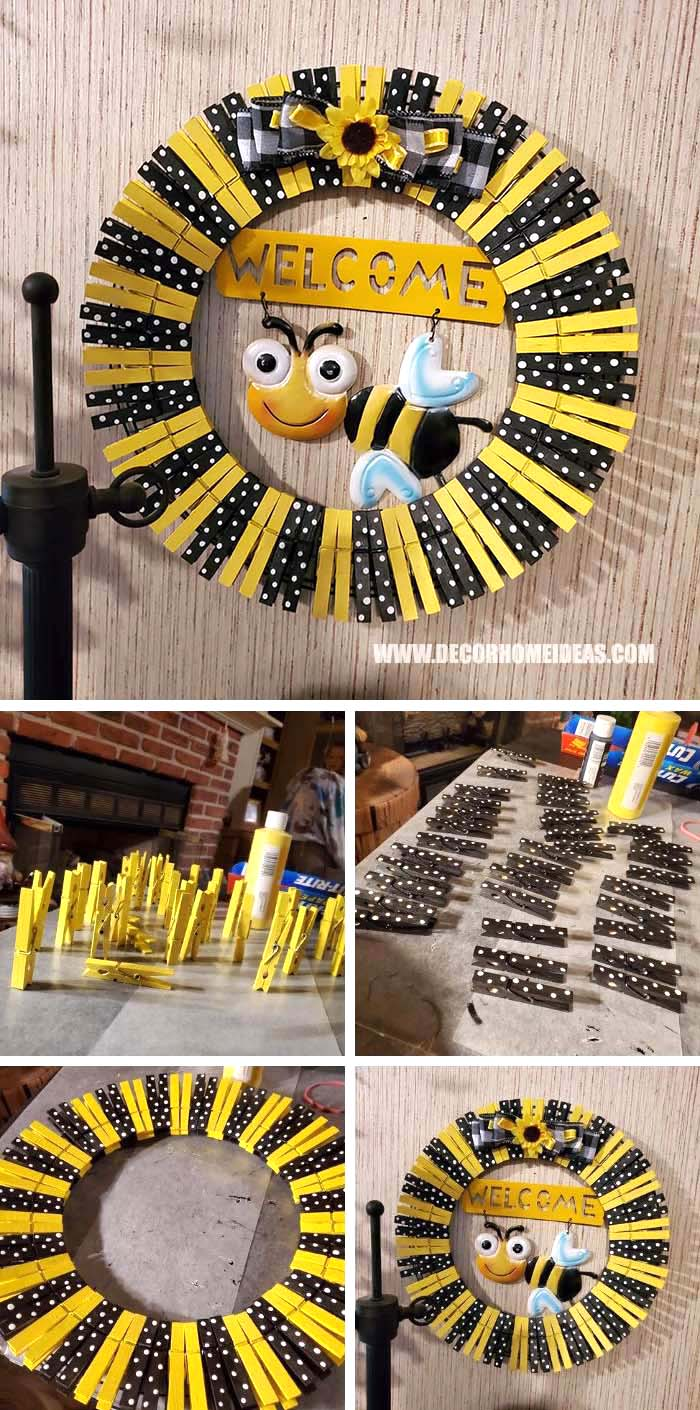 DIY Cute Bee Clothespin Wreath #diy #clothespin #wreath #crafts #decorhomeideas