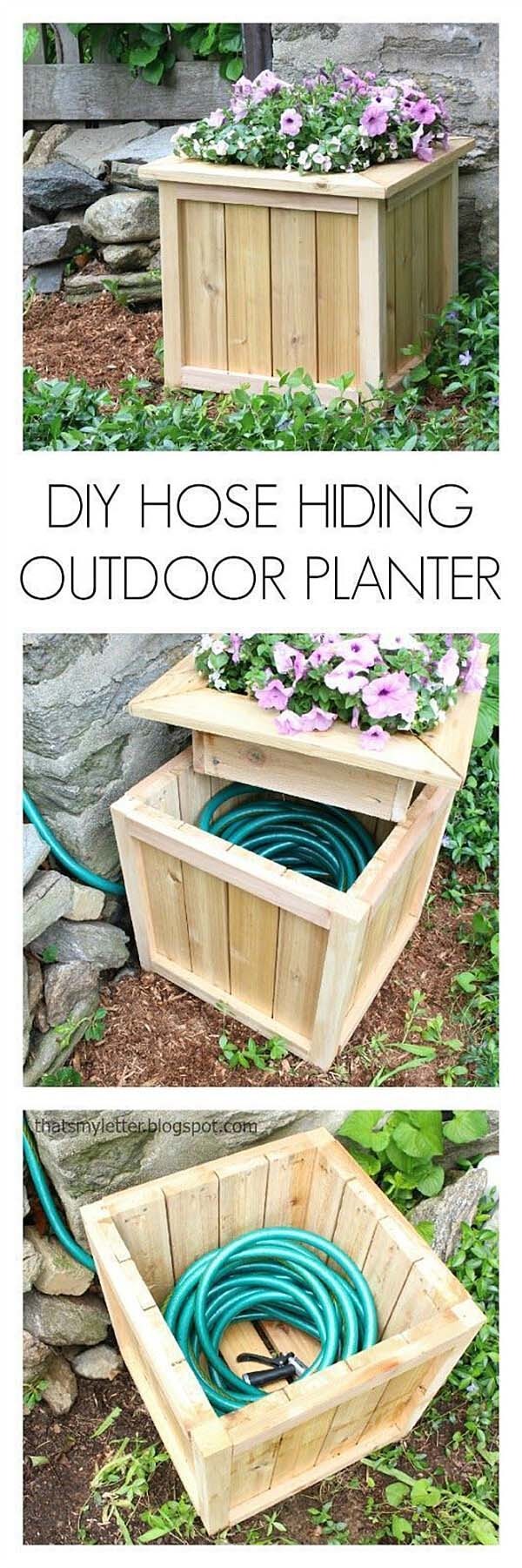 DIY Hose Hiding Outdoor Planter #diy #planter #wood #flower #pallet #decorhomeideas