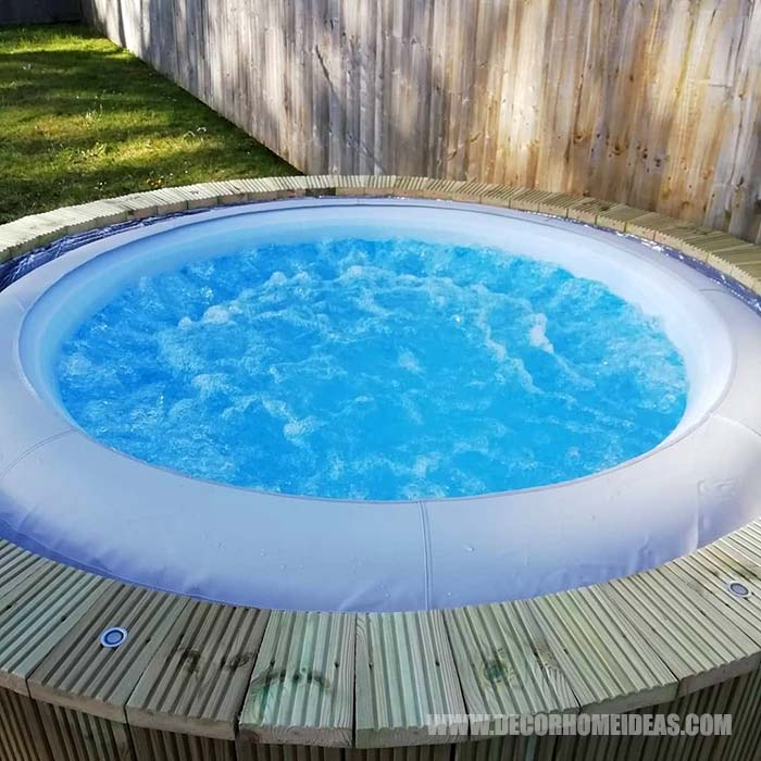 DIY Hot Tub Surround With Deck. How to make a hot tub surround with deck for sunbeds. Step by step instructions, needed supplies and tools. #diy #hottub #surround #deck #decorhomeideas