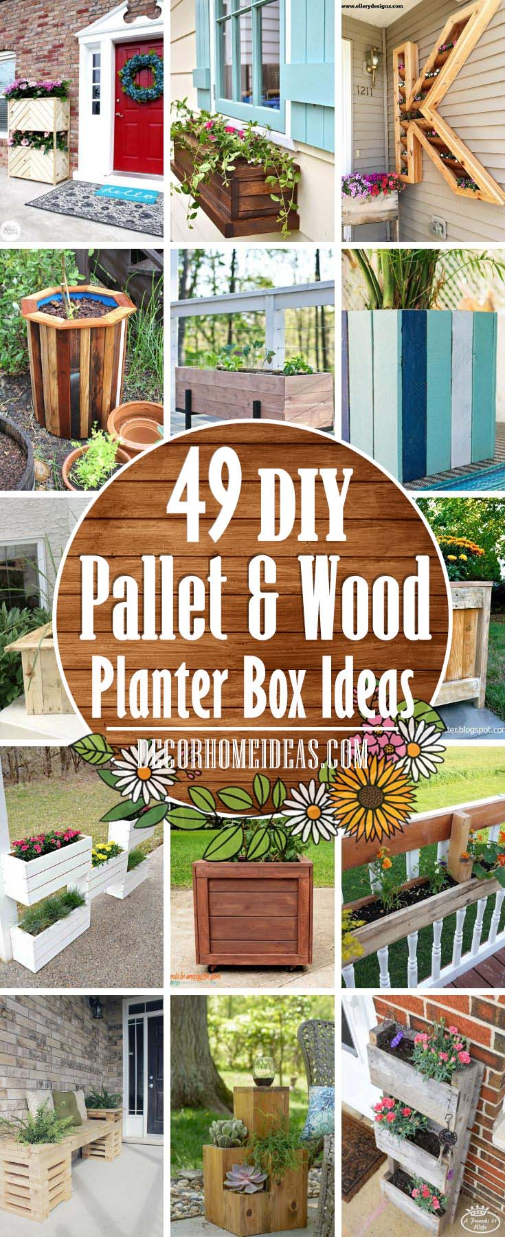 DIY Pallet And Wood Planter Box Ideas . Make your own wooden planter for flowers to spruce up your garden #diy #planter #wood #flower #pallet #decorhomeideas