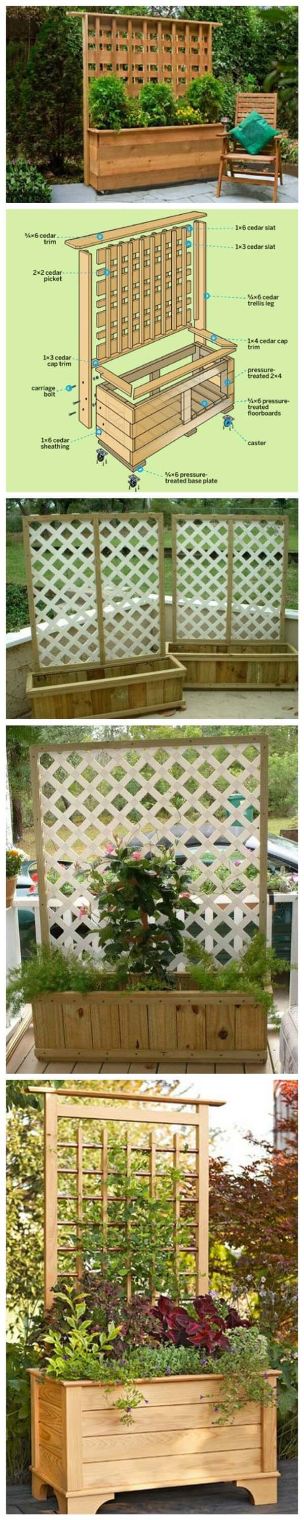 DIY Planter Box with Climbing Trellis #diy #planter #wood #flower #pallet #decorhomeideas