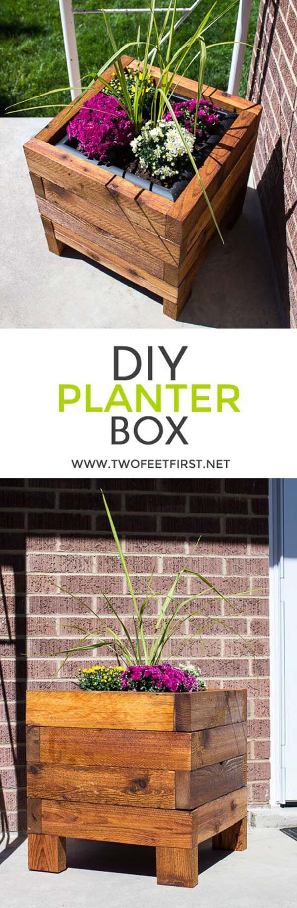 DIY Small Wooden Planter Box #diy #planter #wood #flower #pallet #decorhomeideas