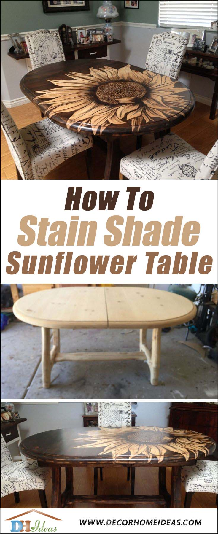 DIY Sunflower Table Stain Shading. How to transform an old boring table into a gorgeous dining table with stain shaded sunflower. #diy #stain #table #makeover #decorhomeideas