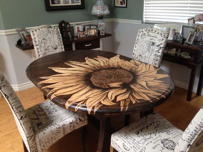 DIY Table Sunflower Stain Shading