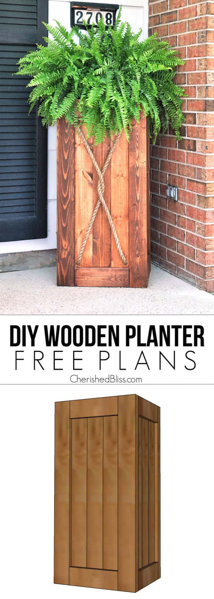 DIY Tall Wooden Porch Planter #diy #planter #wood #flower #pallet #decorhomeideas
