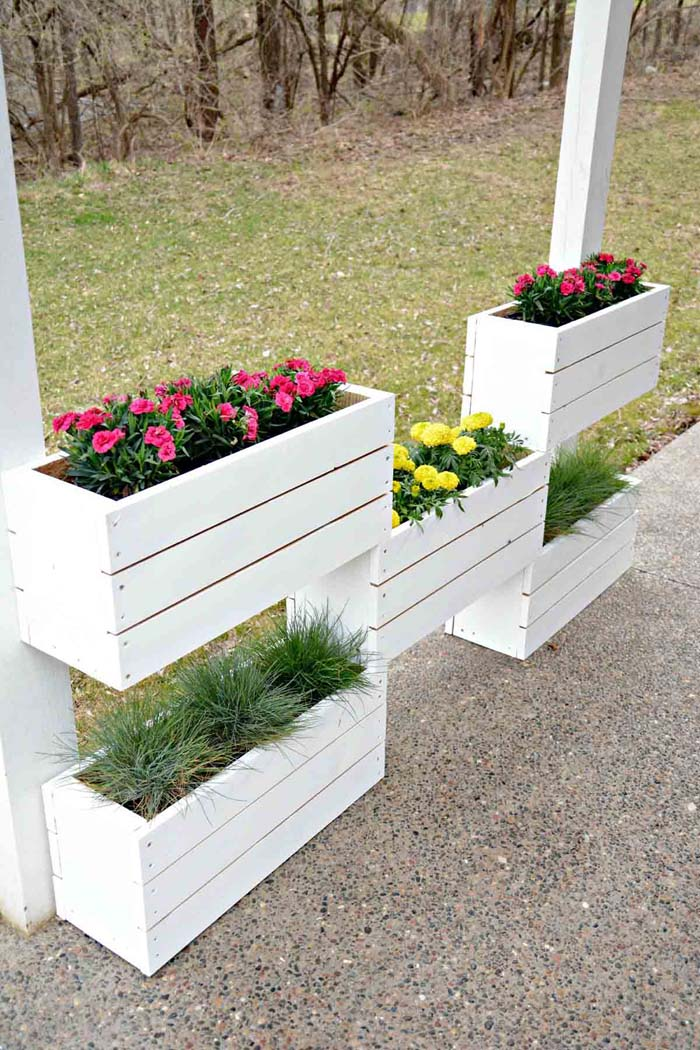 DIY Tiered Wood Flower Boxes #diy #planter #wood #flower #pallet #decorhomeideas