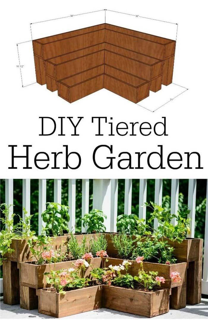 DIY Tiered Wood Herb Garden #diy #planter #wood #flower #pallet #decorhomeideas
