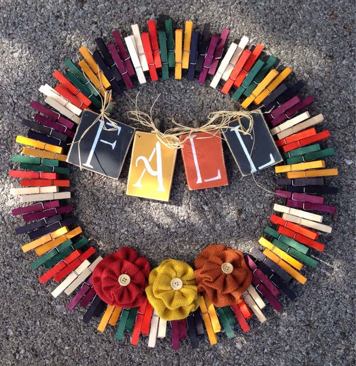 Welcome Fall Clothespin Wreath #diy #clothespin #wreath #crafts #decorhomeideas