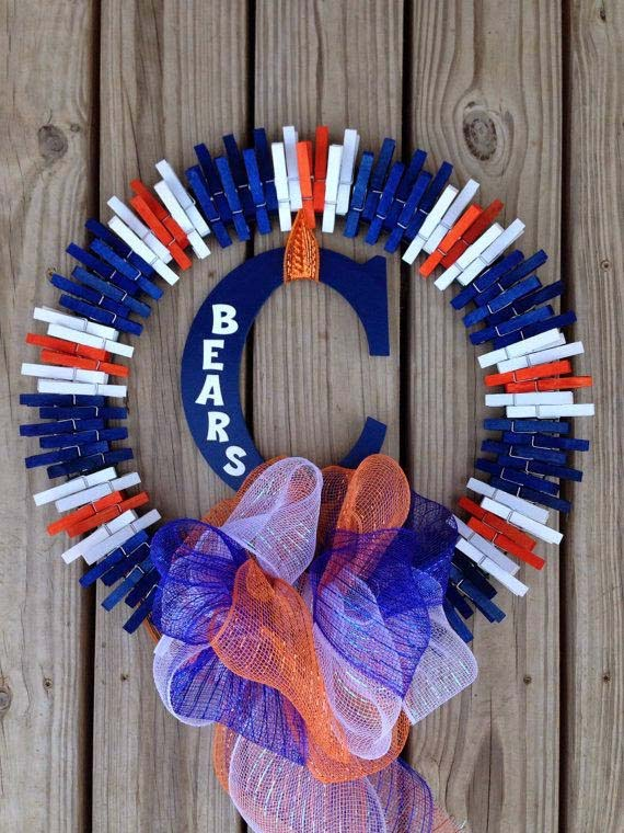 Chicago Bears Wreath #diy #clothespin #wreath #crafts #decorhomeideas
