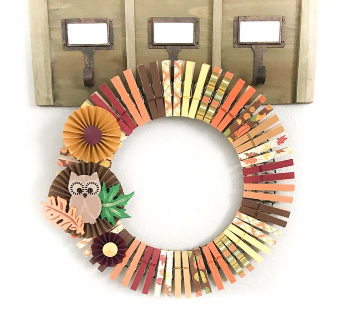 Owl And Flowers Wreath For Nursery Room #diy #clothespin #wreath #crafts #decorhomeideas