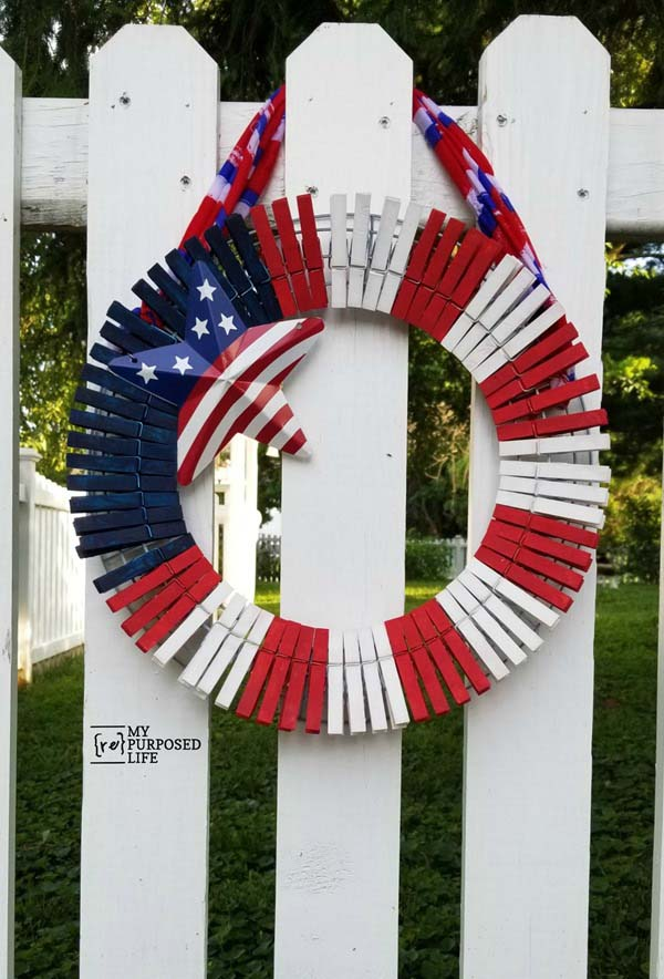 Patriotic Clothespin Wreath #diy #clothespin #wreath #crafts #decorhomeideas