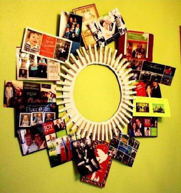 Clothespin Wreath As Picture Frame #diy #clothespin #wreath #crafts #decorhomeideas